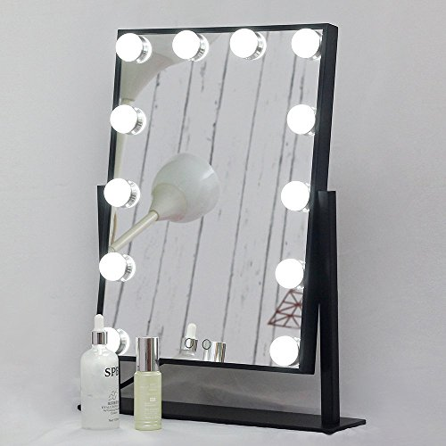 Aoleen Dimmable Hollywood Makeup Vanity Mirror with Light, Lighted Tabletop Mirror with LED Bulbs Two Kinds of Light Color Conversion (Black)