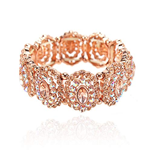 - SP Sophia Collection Women's Marquise Austrian Crystal Halo Cuff Wide Bangle Stretch Rhinestone Bracelet in Peach