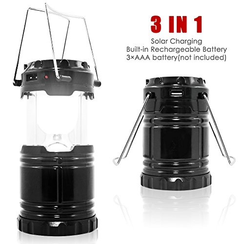 Ultra Bright Camping Lantern with Rechargeable Batteries, maxin Water Resistant maxin Portable LED Solar Collapsible Camping Lantern Flashlights Torch for Outdoor