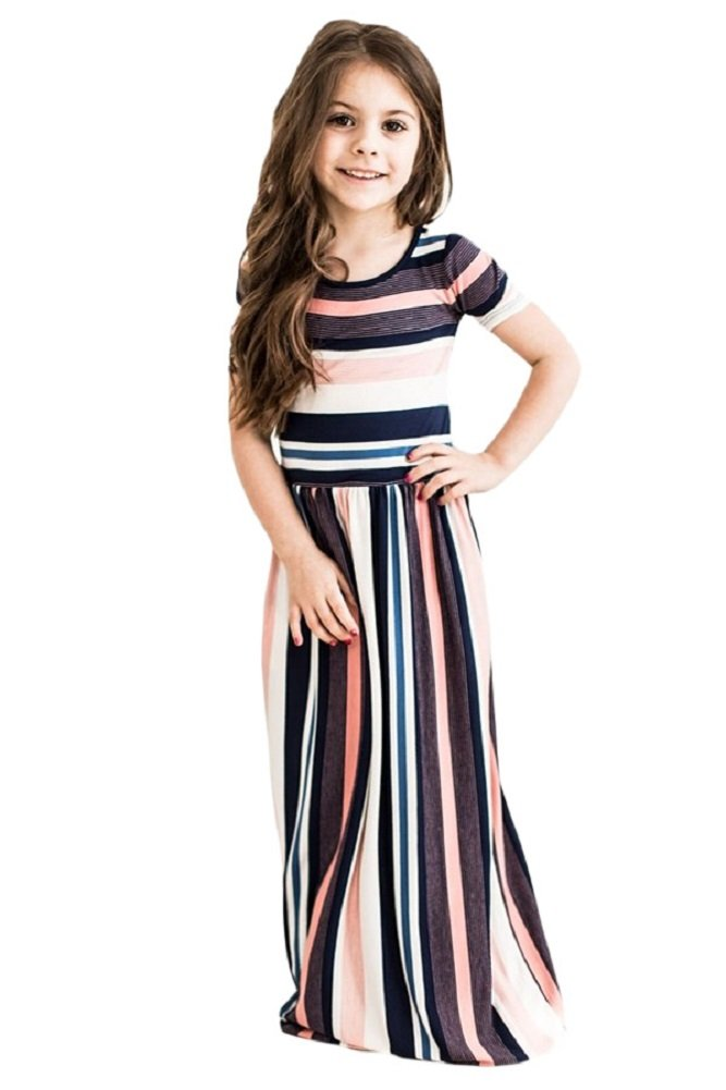 Feilvvv Children Kids Girls Color Block Striped Long Maxi Dress with Pockets Summer Beach Dresses 4-13 Years