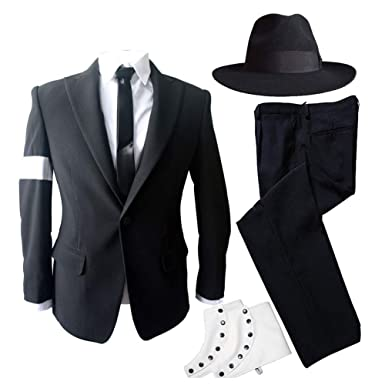 50678bba21a19 MJ Michael Jackson Dangerous Bad Tour Costumes Black Suit Full Outfit for  Prefromance Party Show Gift