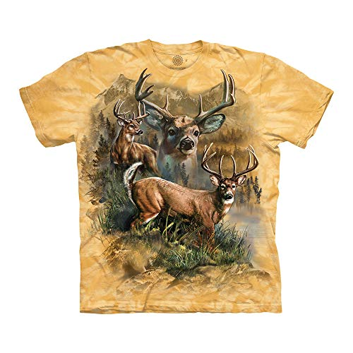 The Mountain Deer Collage Adult T-Shirt, Yellow, - Mountain Deer