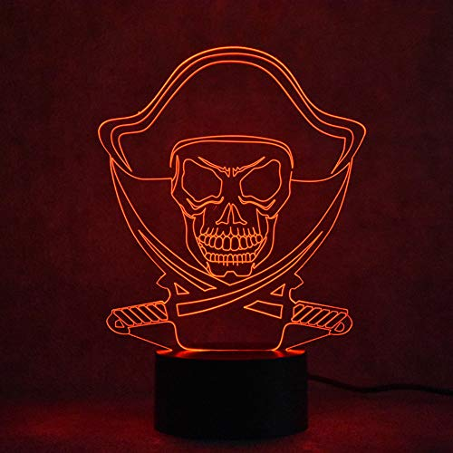 Zylxyd 3D Night Light Touch Novelty Led Visual USB Light Fixture Table Lamp Bedroom Decor Pirates Model Lamp Sleeping Creative Gift