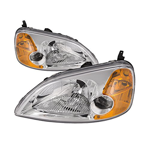 HEADLIGHTSDEPOT Compatible with Honda Civic 2-Door Coupe New Replacement Headlights Set ()