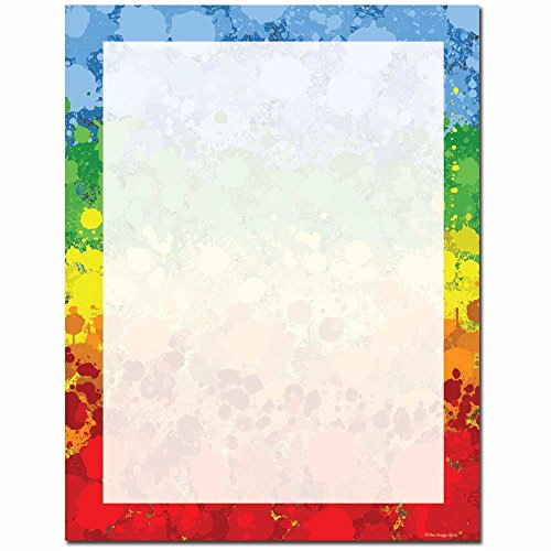 Paint Drops Letterhead Laser & Inkjet Printer Paper, 100 pack Border Letterhead 100 Sheets