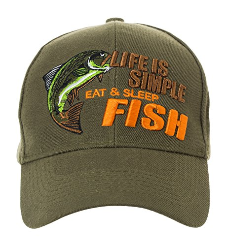 Life is Simple - Eat, Sleep, Fish Camo Hat - Funny Fishing Gift - 100%