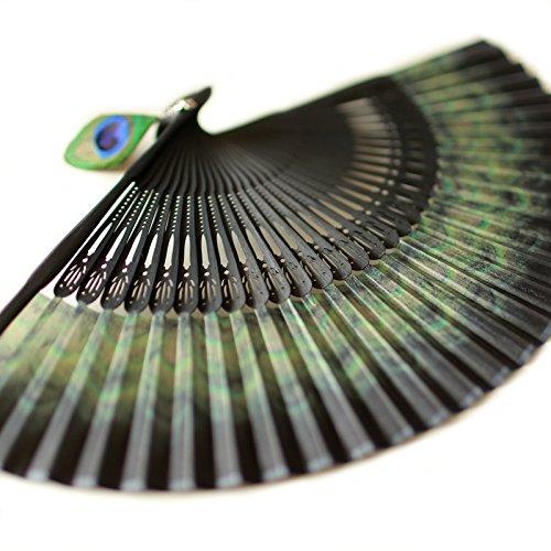 Bamboo Folding Fan Handheld Fan, Peacock Feather Pattern