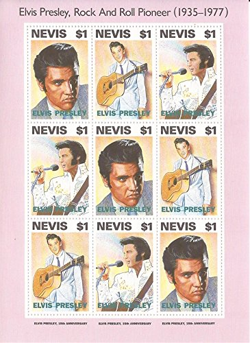 Elvis Presley - USPS Nevis - 1993 - 9 Stamp Sheet - Scott #776 14N-003