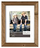 Gallery Solutions 11x14 Flat Ash Wood Wall Picture Frame with White Mat For 8x10 Image