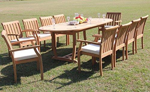 TeakStation 10 Seater Grade-A Teak Wood 11 Pc Dining Set: 94