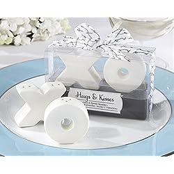 Hugs & Kisses Ceramic Salt & Pepper Shaker For Wedding Favors, Set of 36