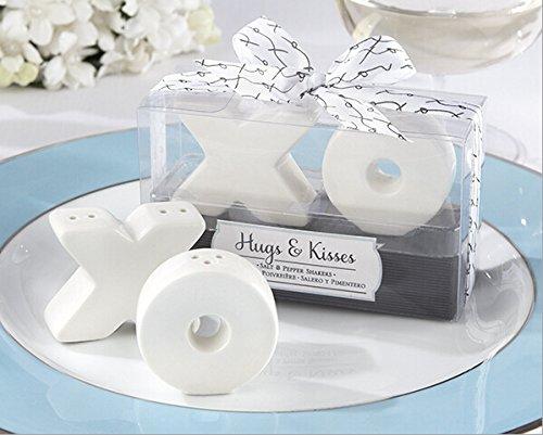 Hugs & Kisses Ceramic Salt & Pepper Shaker For Wedding Favors, Set of 72