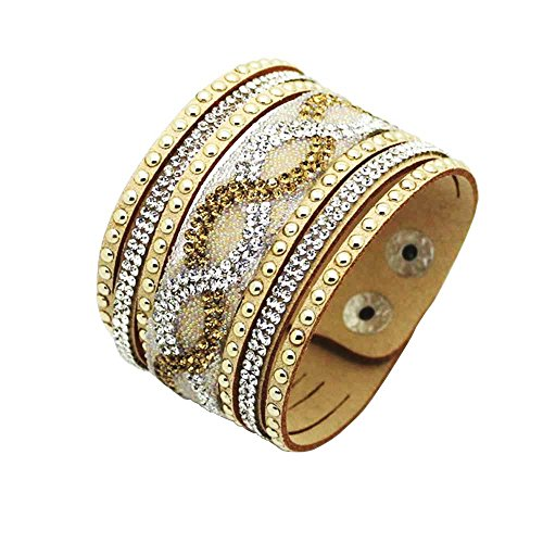 Physn Crystal Leather Bracelets & Bangles Personality Printed Pave Setting Rhinestone Charm Bracelet For Women (Gold)
