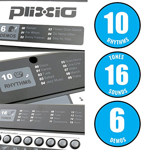 Plixio 61 Key Mid-Size Electric Piano Keyboard with Electronic Music Lesson Mode & Adapter - Image 1
