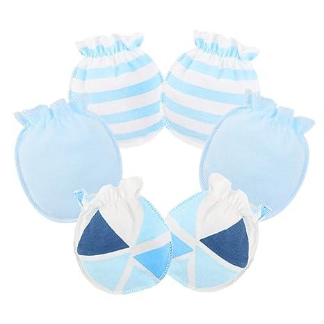 Scrox 3X Guantes de bebé 100% algodón Manopla de Tricot para recién Nacidos Mitones Anti-arañazos para bebés recién Nacidos hasta 3 Meses (Azul ...