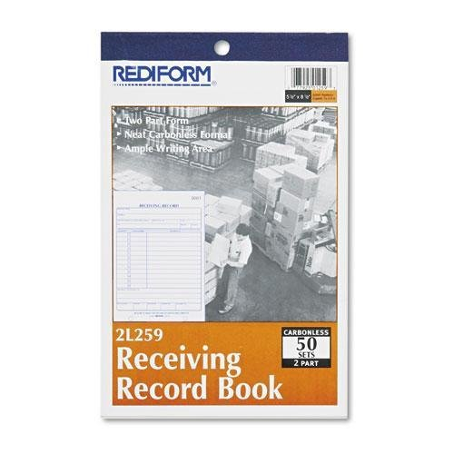 - REDIFORM OFFICE PRODUCTS Receiving Record Book, 5 1/2 x 7 7/8, Two-Part Carbonless, 50 Sets/Book (2L259)