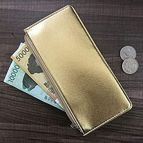 INS Long Wallet for Women Foviza Girl Money Purse Design PU Leather Buckle Cards Holder