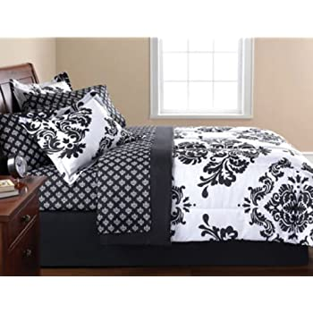 Black U0026 White Damask Full Comforter U0026 Sheet Set (8 Piece Bed In ...