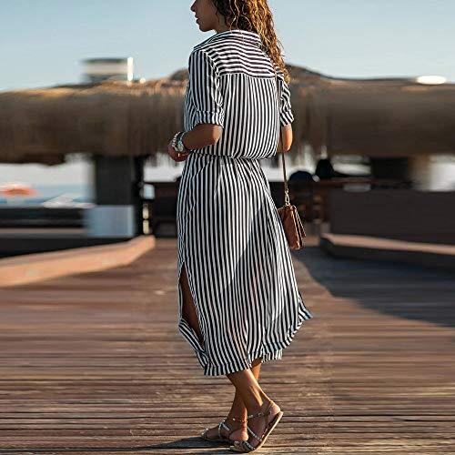 JESPER Women Stripe Printed Long Sleeves Button Bandage Belt Shirt Long Dress US 4/6 Black by JESPER (Image #1)