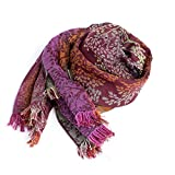 Luxury French Scarf - Purple/Red/Rust Wool, Cotton, and Silk Rectangle Scarf/Shawl