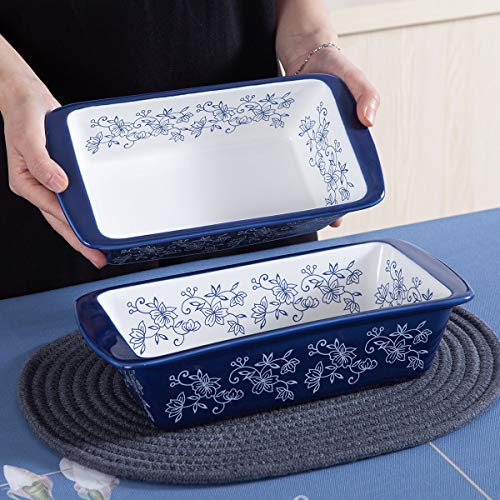 Jemirry Ceramic Baking Bread Pan Loaf Pan Rectangular Baking Dish Bakeware Toast Mold for Home Kitchen- Classic Blue