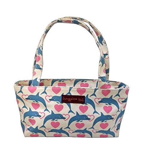Bungalow360 Vegan Cotton Canvas Mini Bag Purse (Dolphin Bag)