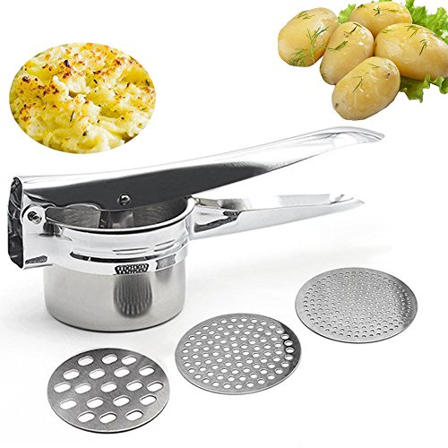 teel Potato Ricer Masher Heavy Duty Food Presser Baby Food Strainer with 3 Pieces Interchangeable Ricing Discs for Purple Potato Pumpkin Lemon Fruit Juicer (Potato Masher) (Heavy Duty Potato Ricer)