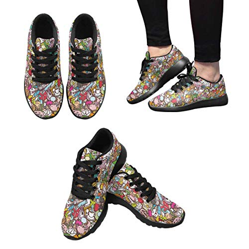 Drawings Pattern InterestPrint Doodle Running Athletic with Shoes Design Mini 9 Women's School rzzXq4S