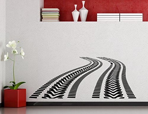 Tire Tracks Wall Decal Car Road with Traces of Tire Garage Vinyl Sticker Home Nursery Kids Boy Girl Room Interior Art Decoration Any Room Mural Waterproof Vinyl Sticker (301xx)