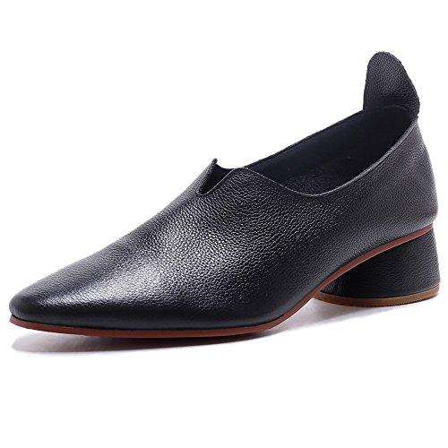 Negen Zeven Lederen Dames Puntige Neus Lage Dikke Hak Kleedje Comfortabele Handgemaakte Loafers Schoenen Zwart