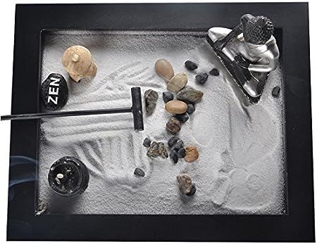 Buda jardín Zen arena bandeja piedras piedras decoración Feng Shui madera Craft resina figura decorativa mesa decoración del hogar regalo empresarial de quemador de incienso de arena: Amazon.es: Hogar