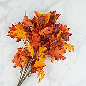 Factory Direct Craft Orange and Brown Poly Silk Autumn Oak Leaf and Acorn Bush | for Indoor Decor 58