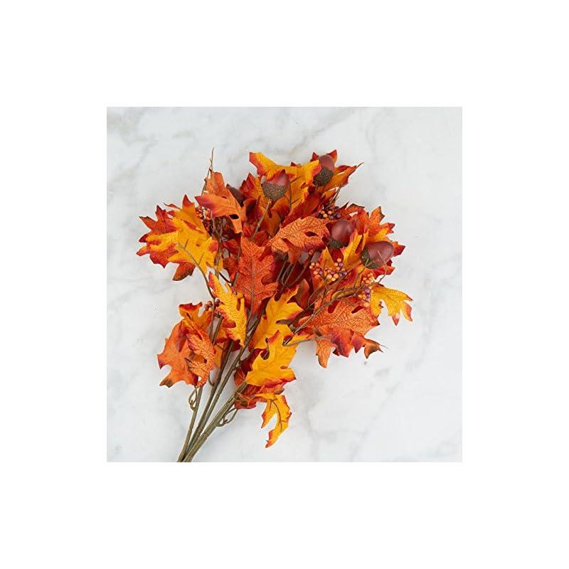 silk flower arrangements orange and brown poly silk autumn oak leaf and acorn bush   for indoor decor