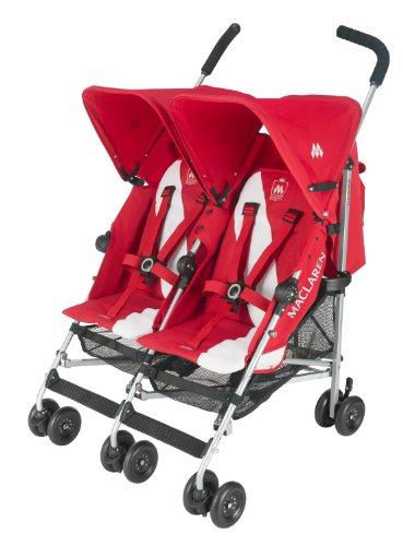 Maclaren Twin Triumph Stroller, Scarlet/Silver, Baby & Kids Zone