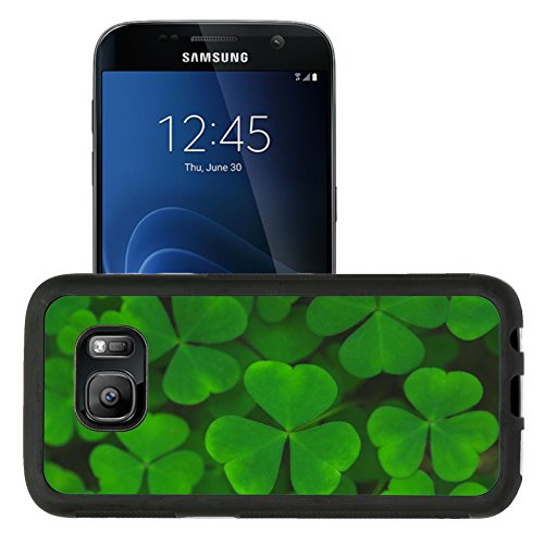 Liili Samsung Galaxy S7 Aluminum Backplate Bumper Snap Case retriver Photo 19682663 Macro view fresh green leaves of shamrock background ()