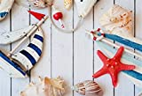 CSFOTO 7x5ft Background for Nautical Themed Birthday Party Decor Photography Backdrop Sailboat Model Starfish on Wood Board Marine Concept Child Kid Portrait Photo Studio Props Polyester Wallpaper