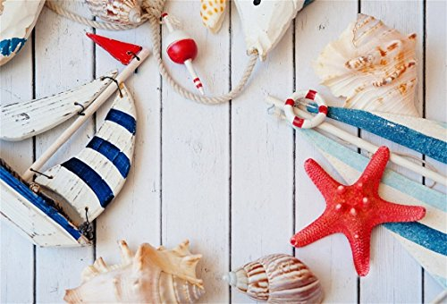CSFOTO 5x3ft Background for Nautical Themed Birthday Party Decor Photography Backdrop Sailboat Model Starfish on Wood Board Marine Concept Child Kid Portrait Photo Studio Props Polyester Wallpaper by CSFOTO