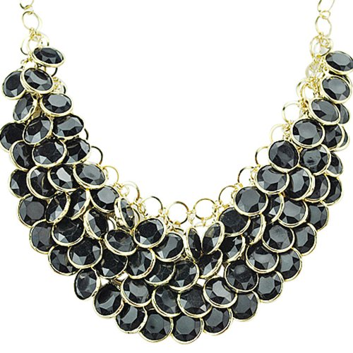 Jane Stone Fashion Black Bib Cluster Chunky Statement Necklace for Women (Fn0510-Black)