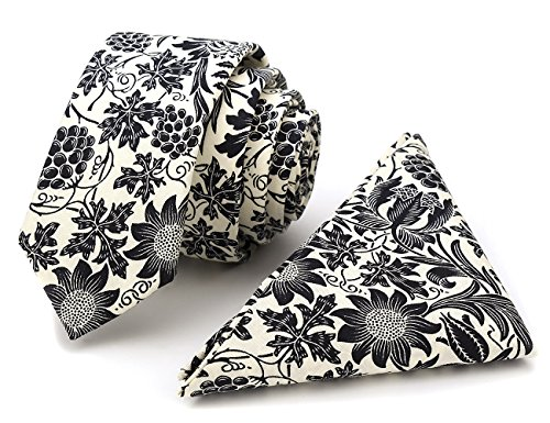 100% Cotton Handmade Skinny Floral Tie with Pocket Square Gift Set Men's Neat Black Grape Necktie