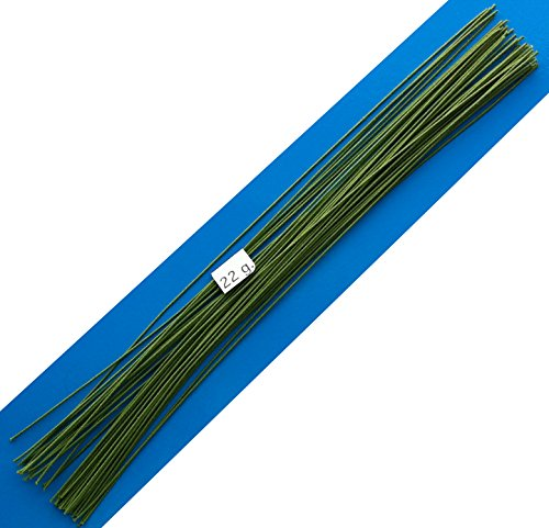 22 Gauge Green Cotton Covered Floral Wire - 40 feet per Bundle (12.2m) in 12 inch (30.5cm) Lengths (Cloth Covered Floral Wire)
