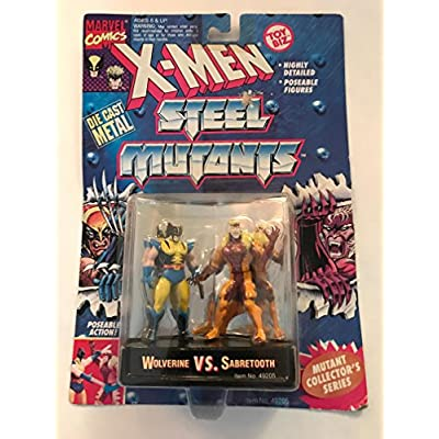 Wolverine vs Sabretooth - Die Cast Metal Figures - 1994 - Poseable - Mutant Collector Stand - Highly Detailed - Toy Biz - Marvel - Limited Edition - Collectible: Toys & Games