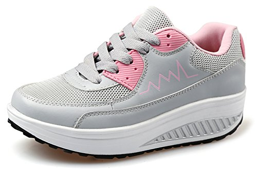 Sneaker Shoes Toning Wedges Comfort Womens Grey Fitness Walking Ausom Out Work Platform CXqTRvxnw