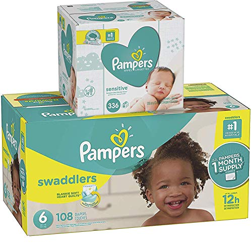 Pampers Swaddlers Disposable Baby Diapers Size 6, 108 Count and Baby Wipes Sensitive Pop-Top Packs, 336 Count