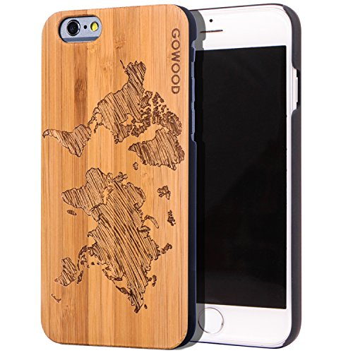 Wood Case for iPhone 6 / 6S | Real Natural Bamboo Wooden Backplate with Unique World Map Design and Shock Absorbing Polycarbonate Protective Bumper GOWOOD (Natural Shell Iphone 6)