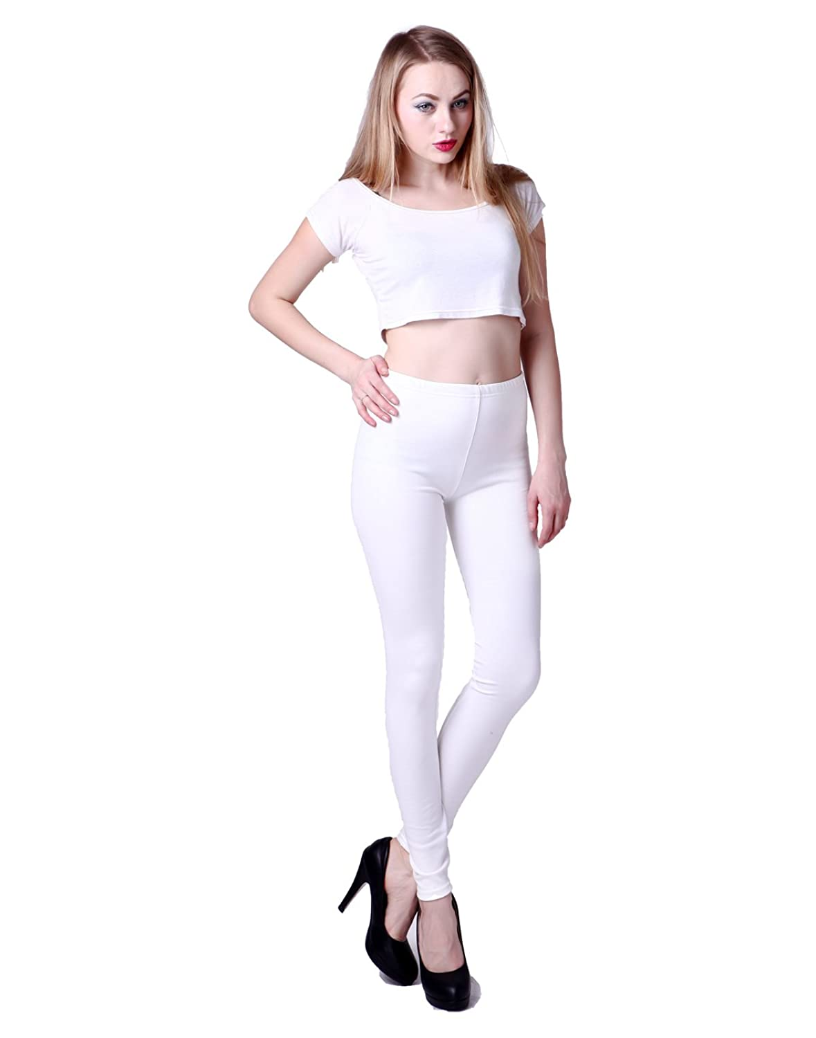 HDE Women's Shiny Solid Color Seamless Stretch Leggings