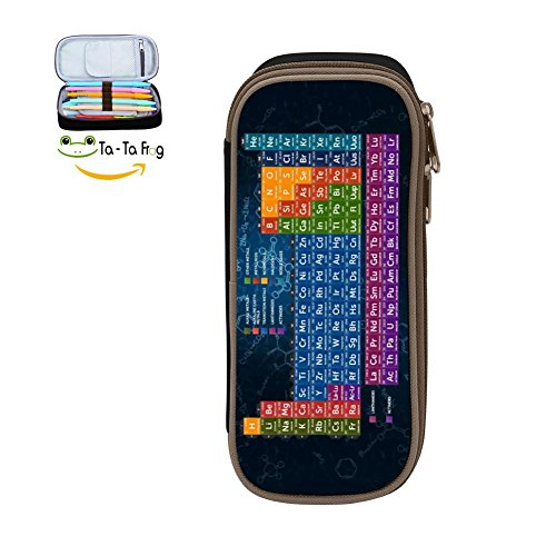 Pen Case, Homecube Big Capacity Pencil Bag Makeup Pouch Durable Students Stationery With Double Zipper Periodic Table Elements Athletic