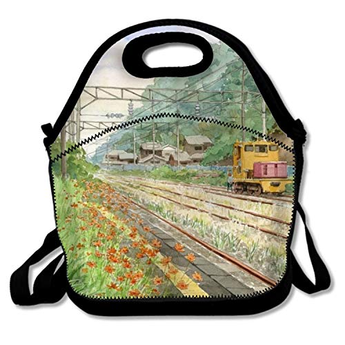 Railway Crossing Scene Kids Coloring Insulated Lunch Bag£¬Large Reusable Lunch Tote Bags For Women