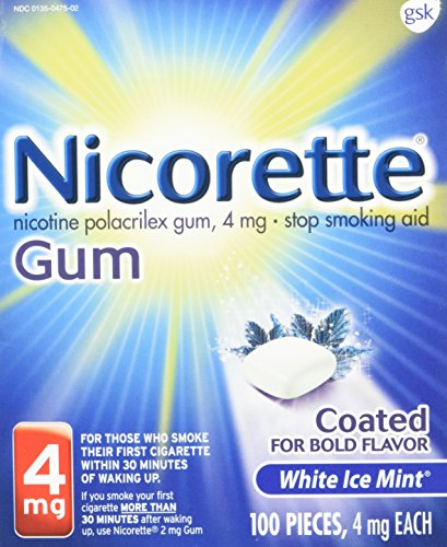 - Nicorette Nicotine Gum White Ice Mint 4mg 100ct Stop Quit Smoking Craving Aid
