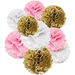 Wrapables Set of 18 Tissue Pom Pom Party Decorations for Weddings, Birthday Parties Baby Showers and Nursery Decor, Pink/ Gold/ White