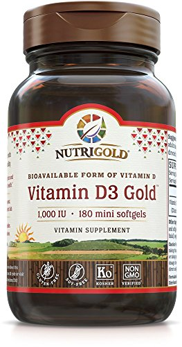 Nutrigold Vitamin D3 1000 Iu GMO-Free, Preservative-Free, Soy-Free, USP Grade Natural Vitamin D in Organic Olive Oil Mini Soft Gels, 7 Ounce